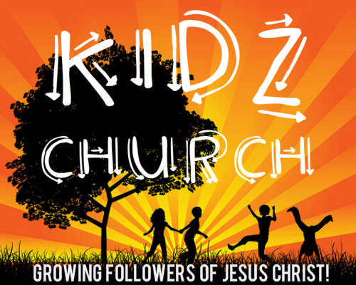 Kids Church Sunburst Image with words